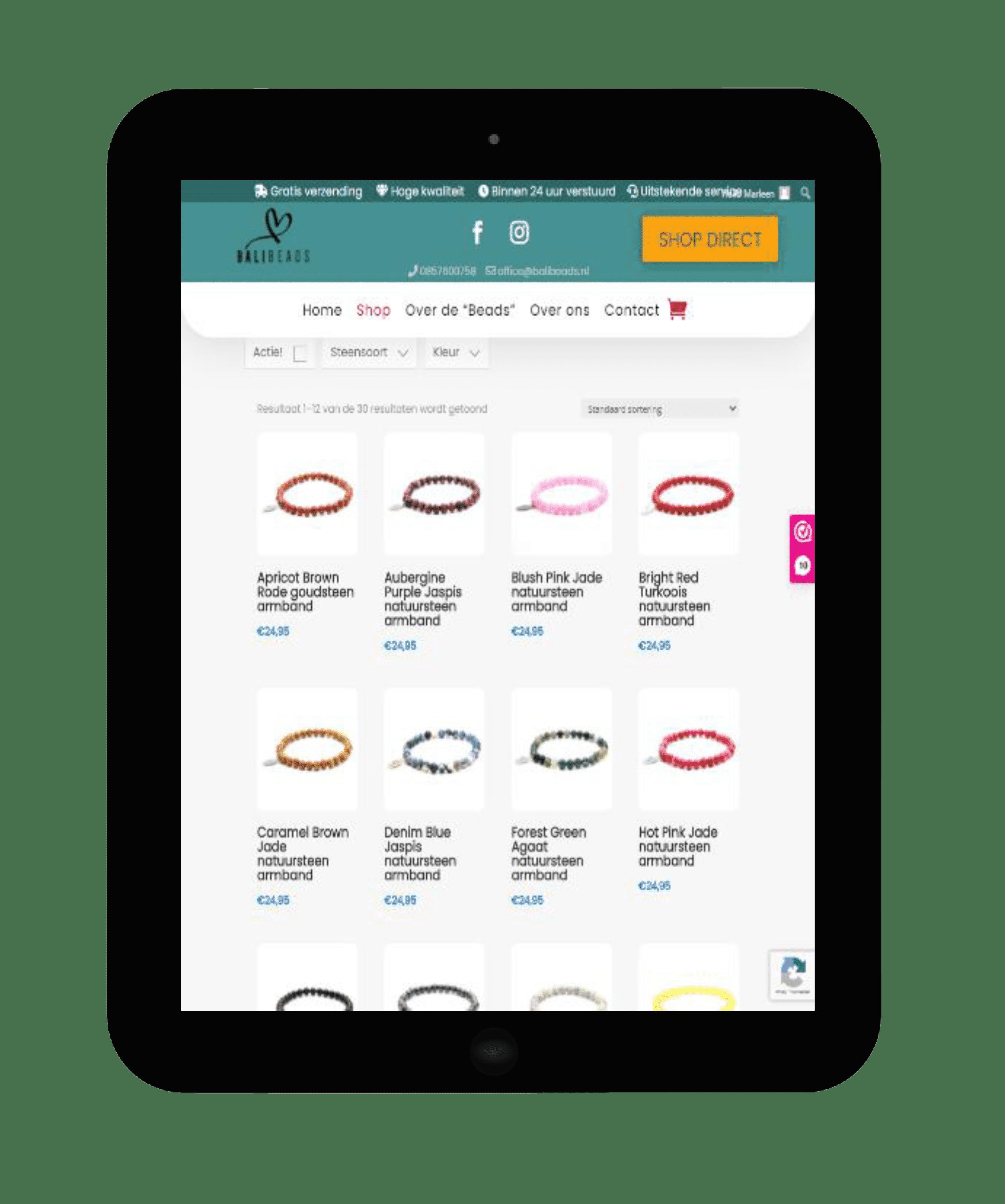 Printscreen website Bali Beads tablet