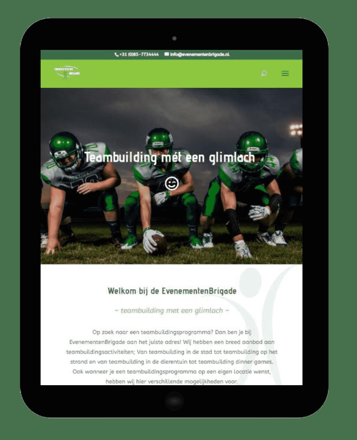 Printscreen website EvenementenBrigade tablet
