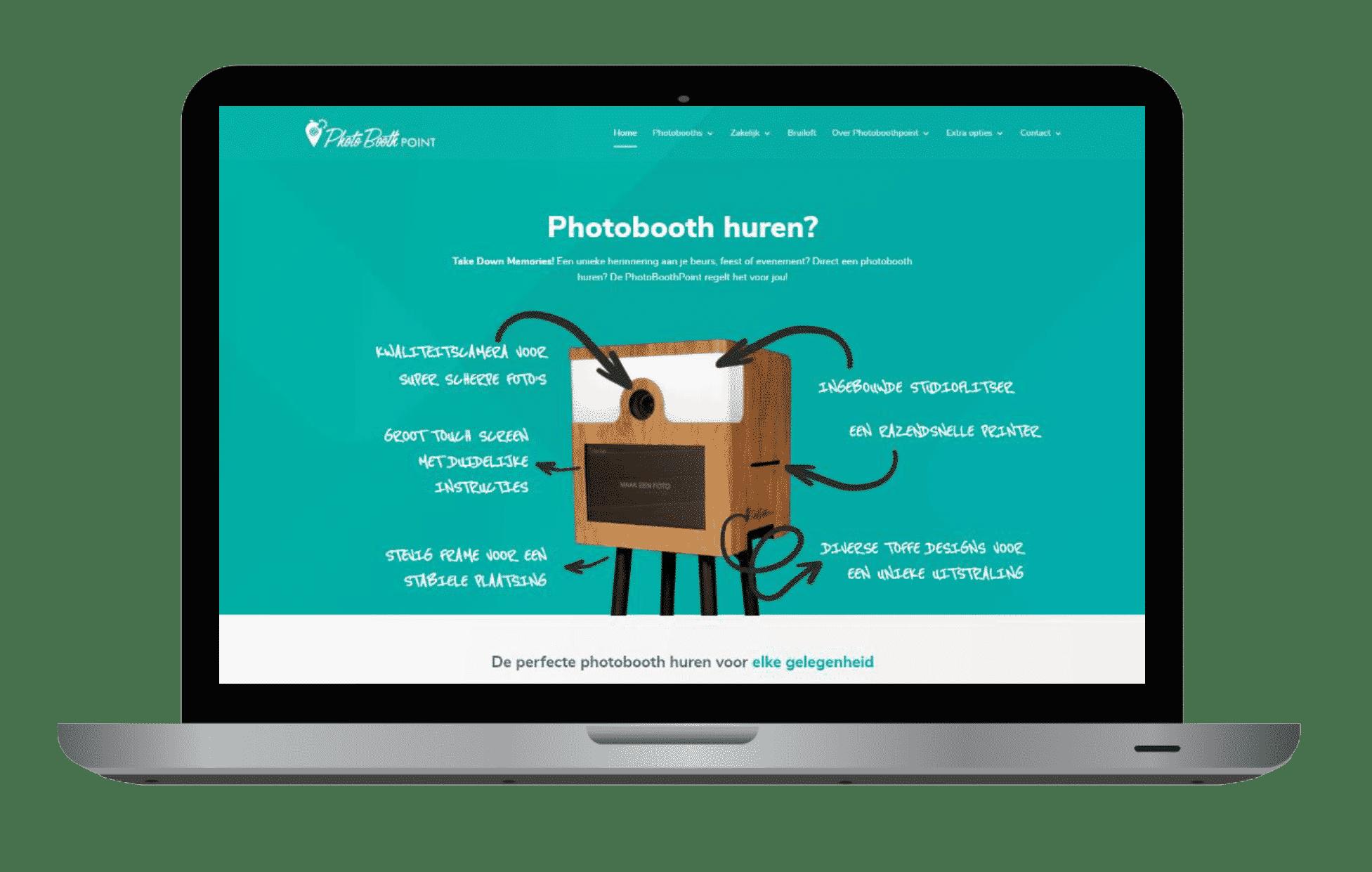 Printscreen website PhotoboothPoint laptop