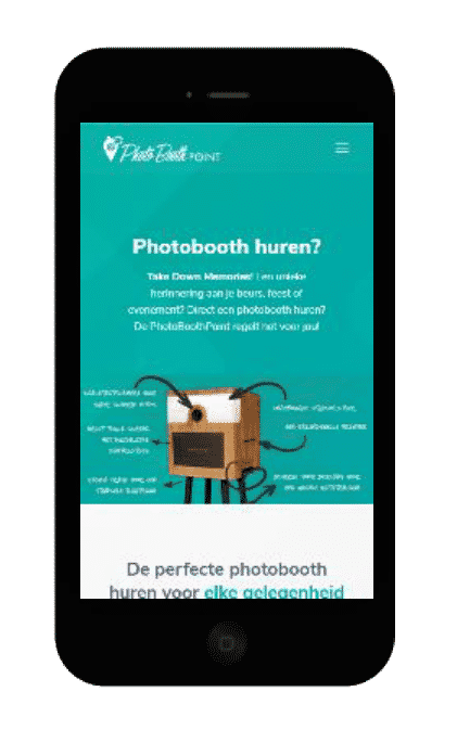 Printscreen website PhotoboothPoint smartphone