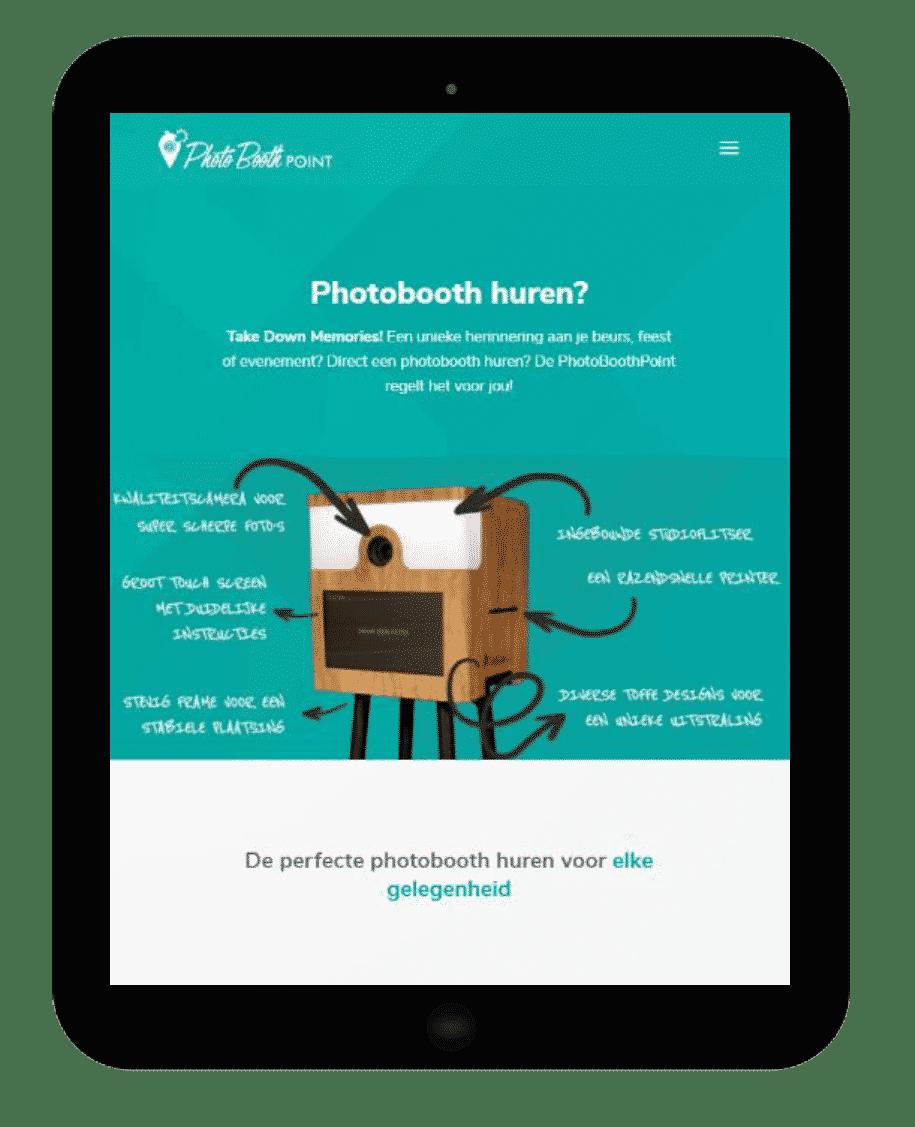 Printscreen website PhotoboothPoint tablet